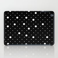 Pin Point Polka Dots White on Black iPad Case