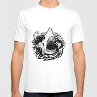 Shark Off Mens Fitted Tee White SMALL