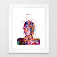 Droid White Framed Art Print