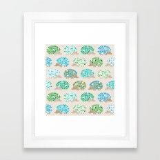 Hedgehog polkadot in green and blue Framed Art Print