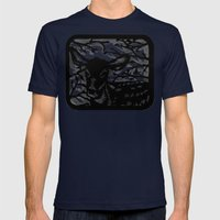 Sleeping Fawn Papercut Mens Fitted Tee Navy SMALL