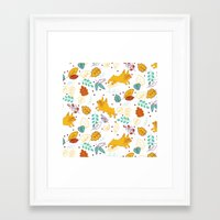 Frenchie Pattern Framed Art Print