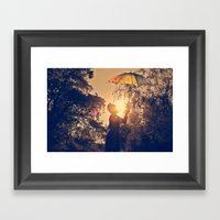 sunshine umbrella Framed Art Print