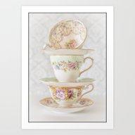 Vintage Tea Cups Border Art Print