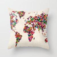 Butterflies Map Of The W… Throw Pillow