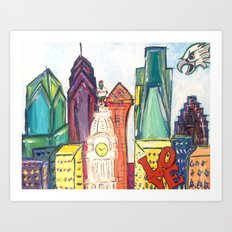 Philadelphia Skyline with Sports Teams: LOVE Statue, Phillie Phanatic, and Eagles Art Print