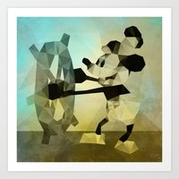 Mickey Mouse as Steamboat Willie Art Print