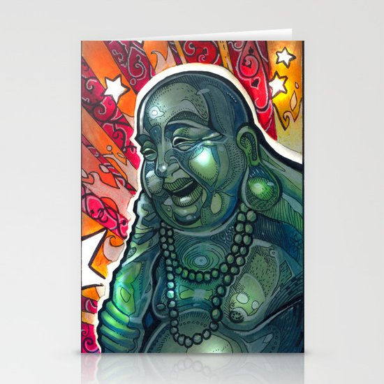 Glowing Buddha Stationery Card