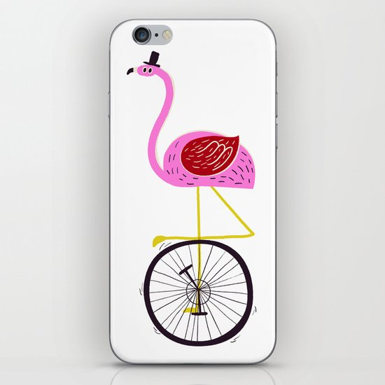 flamingo unicycler iPhone & iPod Skin