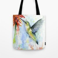 Hummingbird and Red Flower Watercolor Tote Bag