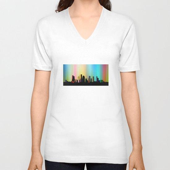 Cityscape through the veil V-neck T-shirt