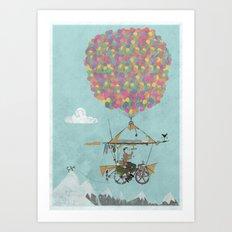 Riding A Bicycle Through The Mountains Art Print