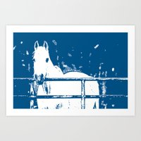 White Horse - Navy Blue Art Print