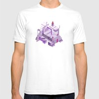 Den of the Headless Lion in Purple and Lavender Mens Fitted Tee White SMALL