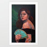 Lady With Fan Art Print
