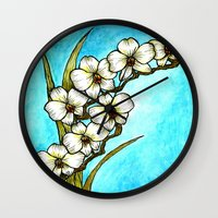 White Orchids Wall Clock