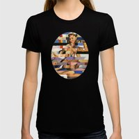 Glitch Pin-Up Redux: Sophia Womens Fitted Tee Black SMALL
