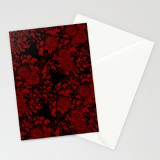 Chrysanthemums Red on Black Stationery Cards