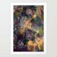 Dark Sparkle Floral Art Print