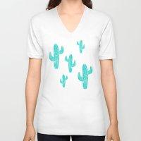 Linocut Cacti Desert Unisex V-Neck