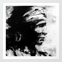Stark - Native American Indian Portrait in B&W Art Print