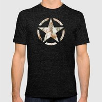 Distressed Star Mens Fitted Tee Tri-Black SMALL