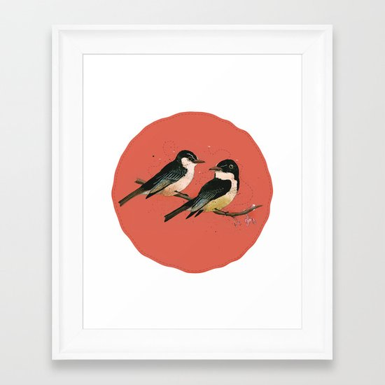 Pair of Phoebes Framed Art Print