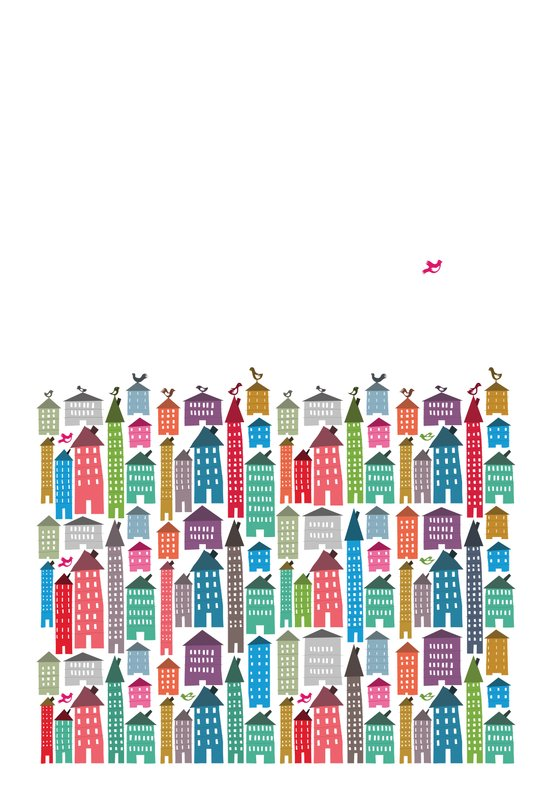 Houses and Birds Art Print