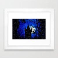 Snowfall At Full Moon Framed Art Print