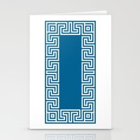 Greek Key blue Stationery Cards