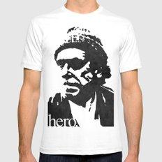 Charles Bukowski - hero. SMALL Mens Fitted Tee White
