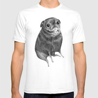 Sweet Black Pug Mens Fitted Tee White SMALL