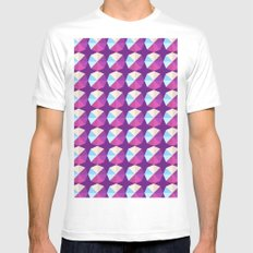 Geometric Abstract Color Blended Pattern Mens Fitted Tee SMALL White