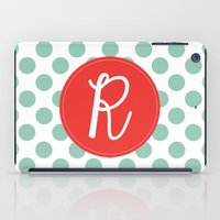 Monogram Initial R Polka Dot iPad Case