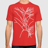Cracked White On Black Mens Fitted Tee Red SMALL