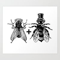 A Fly Marrying A Bumbleb… Art Print