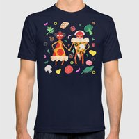 Pizza Folk Mens Fitted Tee Navy SMALL