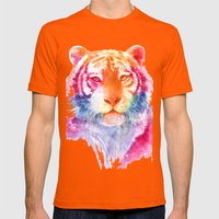 Rainbow stripes Mens Fitted Tee Orange SMALL