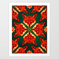 Fox Cross Geometric Patt… Art Print