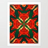 Fox Cross Geometric Patt… Art Print