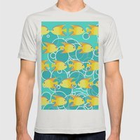 Yellow fish pattern Mens Fitted Tee Silver SMALL