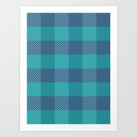 Pixel Plaid - Ice Sheet Art Print
