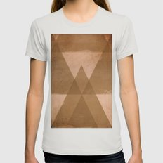 Distressed Triangles Womens Fitted Tee Silver SMALL
