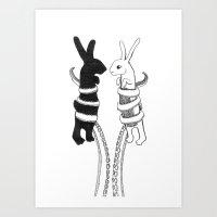 Rabbits vs Octopus Art Print