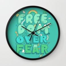 Freedom Over Fear Wall Clock
