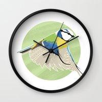 Bluetit In Flight Wall Clock