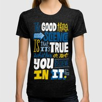 The Good Thing About Sci… Womens Fitted Tee Tri-Black SMALL