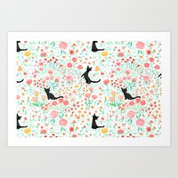 Lucky Cat Garden Art Print