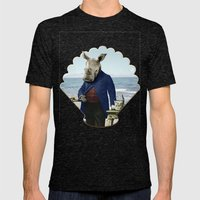 Mr. Rhino's Day at the Beach Mens Fitted Tee Tri-Black SMALL
