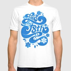 Live By F8th Script White Mens Fitted Tee SMALL
